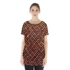 Woven2 Black Marble & Copper Foil (r) Skirt Hem Sports Top