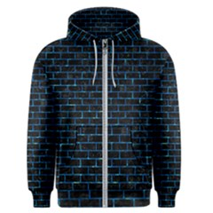 Brick1 Black Marble & Deep Blue Water Men s Zipper Hoodie