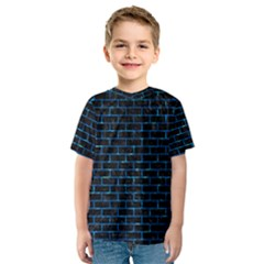 Brick1 Black Marble & Deep Blue Water Kids  Sport Mesh Tee