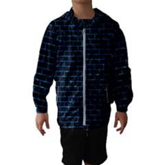 Brick1 Black Marble & Deep Blue Water Hooded Wind Breaker (kids)