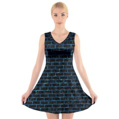 Brick1 Black Marble & Deep Blue Water V Neck Sleeveless Skater Dress