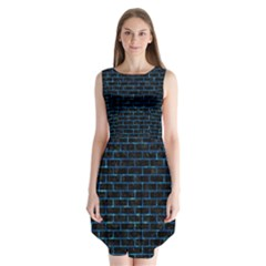 Brick1 Black Marble & Deep Blue Water Sleeveless Chiffon Dress