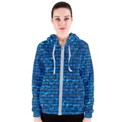 Brick1 Black Marble & Deep Blue Water (r) Women s Zipper Hoodie