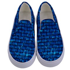 Brick1 Black Marble & Deep Blue Water (r) Kids  Canvas Slip Ons
