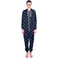 Brick2 Black Marble & Deep Blue Water Hooded Jumpsuit (ladies)