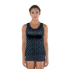 Brick2 Black Marble & Deep Blue Water Sport Tank Top