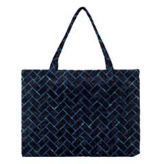 Brick2 Black Marble & Deep Blue Water Medium Tote Bag