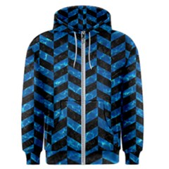 Chevron1 Black Marble & Deep Blue Water Men s Zipper Hoodie