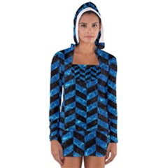 Chevron1 Black Marble & Deep Blue Water Long Sleeve Hooded T Shirt