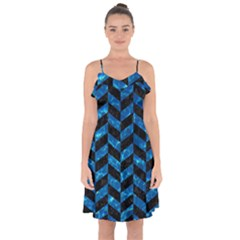 Chevron1 Black Marble & Deep Blue Water Ruffle Detail Chiffon Dress