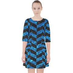Chevron2 Black Marble & Deep Blue Water Pocket Dress