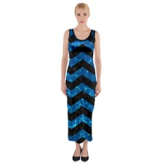Chevron3 Black Marble & Deep Blue Water Fitted Maxi Dress
