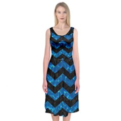 Chevron3 Black Marble & Deep Blue Water Midi Sleeveless Dress
