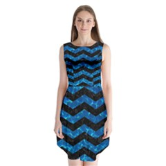 Chevron3 Black Marble & Deep Blue Water Sleeveless Chiffon Dress