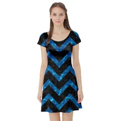 Chevron9 Black Marble & Deep Blue Water Short Sleeve Skater Dress