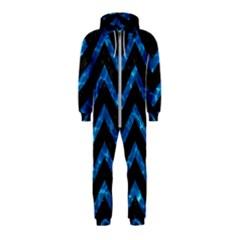 Chevron9 Black Marble & Deep Blue Water Hooded Jumpsuit (kids)