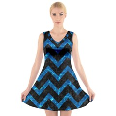 Chevron9 Black Marble & Deep Blue Water V Neck Sleeveless Skater Dress