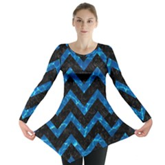 Chevron9 Black Marble & Deep Blue Water Long Sleeve Tunic