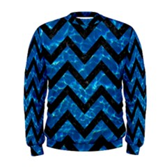 Chevron9 Black Marble & Deep Blue Water (r) Men s Sweatshirt
