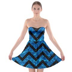 Chevron9 Black Marble & Deep Blue Water (r) Strapless Bra Top Dress