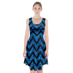 Chevron9 Black Marble & Deep Blue Water (r) Racerback Midi Dress