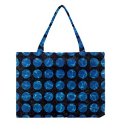Circles1 Black Marble & Deep Blue Water Medium Tote Bag