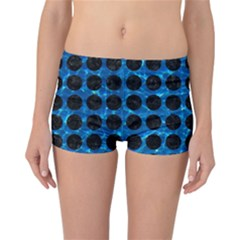 Circles1 Black Marble & Deep Blue Water (r) Reversible Boyleg Bikini Bottoms