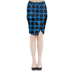 Circles1 Black Marble & Deep Blue Water (r) Midi Wrap Pencil Skirt