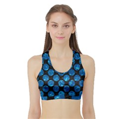 Circles2 Black Marble & Deep Blue Water Sports Bra With Border