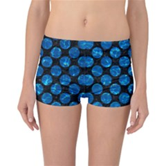 Circles2 Black Marble & Deep Blue Water Reversible Boyleg Bikini Bottoms