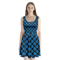 Circles2 Black Marble & Deep Blue Water Split Back Mini Dress