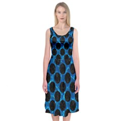 Circles2 Black Marble & Deep Blue Water (r) Midi Sleeveless Dress