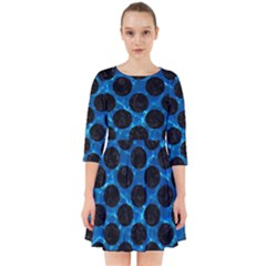 Circles2 Black Marble & Deep Blue Water (r) Smock Dress