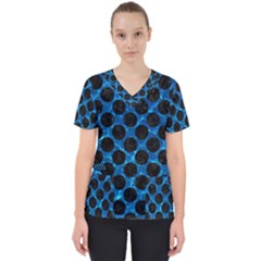 Circles2 Black Marble & Deep Blue Water (r) Scrub Top