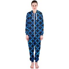 Circles3 Black Marble & Deep Blue Water Hooded Jumpsuit (ladies)