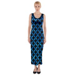 Circles3 Black Marble & Deep Blue Water Fitted Maxi Dress