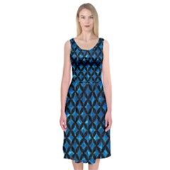 Circles3 Black Marble & Deep Blue Water (r) Midi Sleeveless Dress