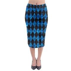 Diamond1 Black Marble & Deep Blue Water Midi Pencil Skirt