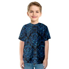 Damask1 Black Marble & Deep Blue Water Kids  Sport Mesh Tee