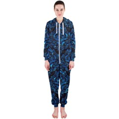 Damask1 Black Marble & Deep Blue Water Hooded Jumpsuit (ladies)