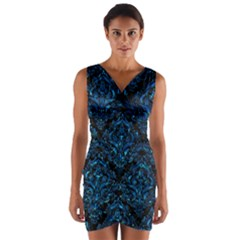 Damask1 Black Marble & Deep Blue Water Wrap Front Bodycon Dress