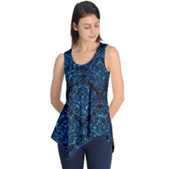 Damask1 Black Marble & Deep Blue Water Sleeveless Tunic