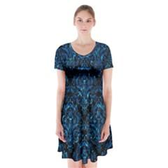 Damask1 Black Marble & Deep Blue Water Short Sleeve V Neck Flare Dress