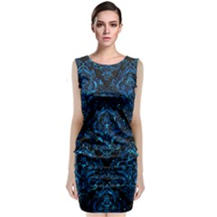 Damask1 Black Marble & Deep Blue Water Classic Sleeveless Midi Dress