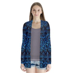 Damask1 Black Marble & Deep Blue Water Drape Collar Cardigan