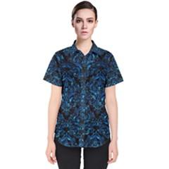 Damask1 Black Marble & Deep Blue Water Women s Short Sleeve Shirt