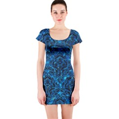 Damask1 Black Marble & Deep Blue Water (r) Short Sleeve Bodycon Dress