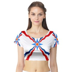 Assyrian Flag  Short Sleeve Crop Top