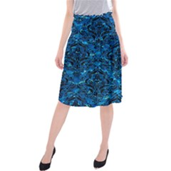 Damask1 Black Marble & Deep Blue Water (r) Midi Beach Skirt