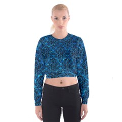 Damask1 Black Marble & Deep Blue Water (r) Cropped Sweatshirt